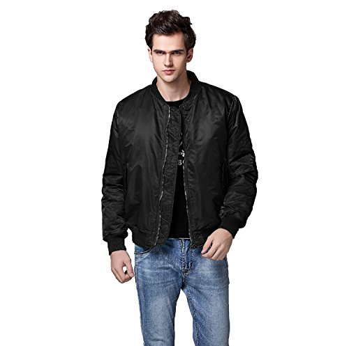 Neo-wows Men's MA-1 Slim Fit Bomber Flight Jacket Thick  Black  X-Large