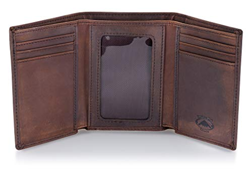 (Stealth Mode Trifold RFID Blocking Brown Leather Wallet for Men)