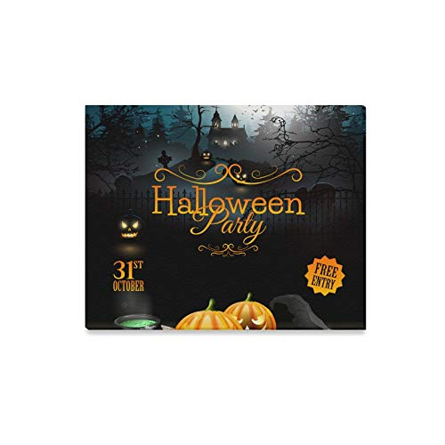 Wall Art Painting Halloween Party Flyer with Pumpkins