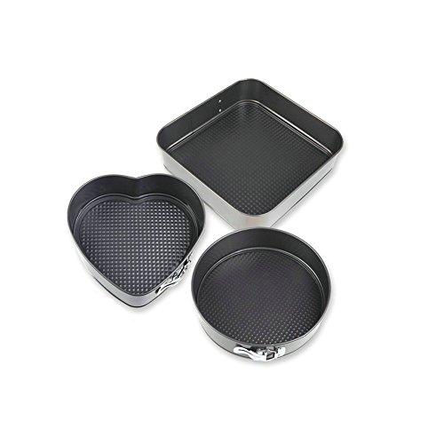 GuDoQi Springform Pan Non-Stick Cake Pan Love Round Square Leakproof Cheesecake Pan Set of 3