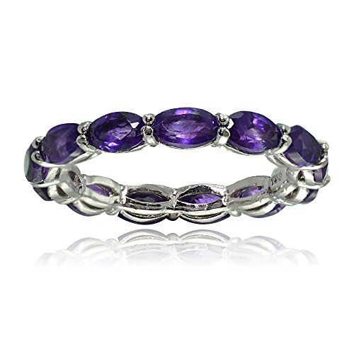 Sterling Silver African Amethyst 5x3mm Oval-cut Eternity Band Ring, Size 9 ()