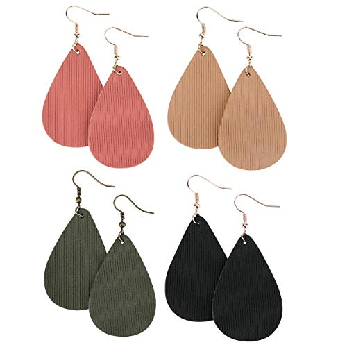 (Leather Earrings Lightweight Teardrop Earrings - Handmade Leaf Dangle Antique Looking Faux Leather Petal Earrings Set for Women Girls,4 Pairs)