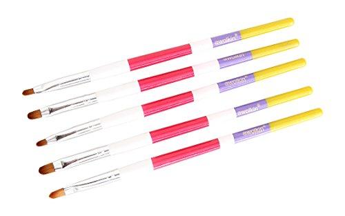 Nagel Pinsel Pinselset für Nailart UV-Gel Acryl für Onestroke und Nagelmodellage 5 Set
