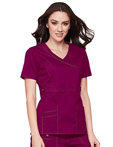 Gen Flex By Dickies Women's Mock Wrap Solid Scrub Top X-Large Mulberry