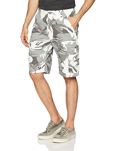 Wrangler Authentics Men's Premium Relaxed Fit Twill Cargo Short, White Camo, 32