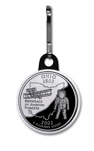 OHIO State Quarter Mint Image 1 inch Zipper Pull Charm