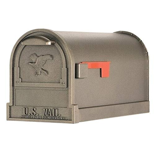 Metal Mailbox Bronze Farmhouse US Postbox Curbside Mail Box Horizontal Ranch Newspaper American Eagle Farm US Rural Red Flag Country Home, Steel