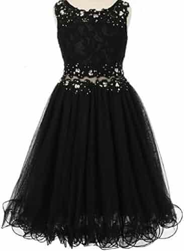 bf6adddc6c2 Dreamer P Little Girls See Through Waistline Lace Flowers Girls Dresses