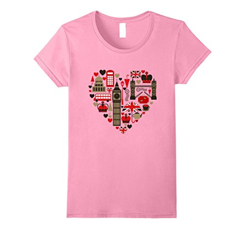Womens Vintage London Tshirt I Love Travel Wanderlust Union Jack Small Pink (Union Pink Jack)