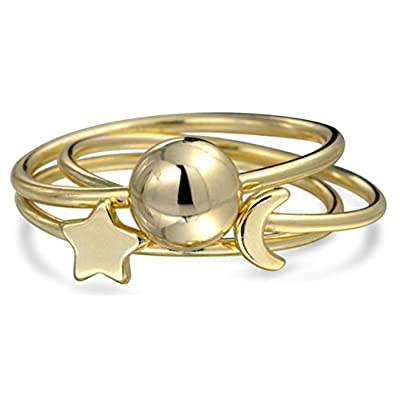 discount Bling Jewelry Sun Moon Star Stackable Midi Rings Set Gold Plated Silver for sale