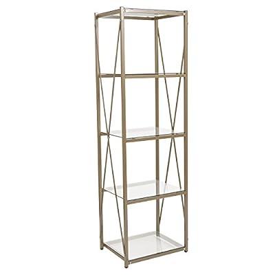 Flash Furniture Mar Vista Collection Glass Storage Shelf with Matte Gold Frame