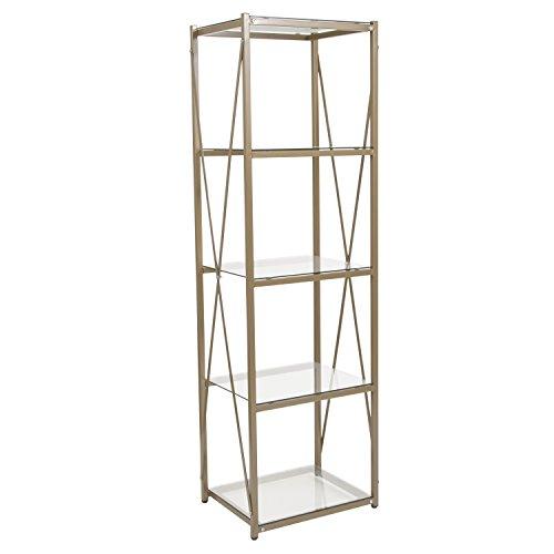 - Flash Furniture Mar Vista Collection Glass Storage Shelf with Matte Gold Frame