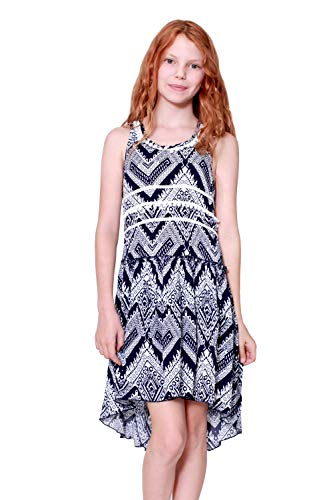 Truly Me, Big Girls' Drop Waist Designer High-Low Dress with Ruffle Detail, Pompom Embellishements, and Cross Back, Size 7-16 (Navy/White, 8)