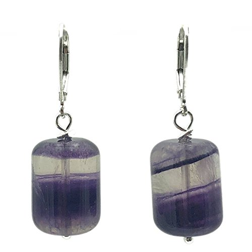Round Tube Purple Fluorite Sterling Silver Lever Back Earrings (Fluorite Purple Earrings)