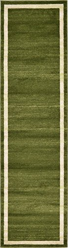 Contemporary Green - Unique Loom Del Mar Collection Contemporary Transitional Green Runner Rug (3' x 10')