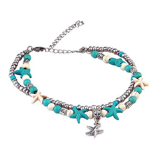 (CHRAN Starfish Sea Turtle Anklets Multi Layered Turquoise Stone Beads Boho Beach Charm Anklet for Women)