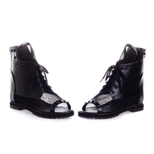 Bedel Voet Mode Dames Met Studs Laag Hiel Hoge Hakken Zwart