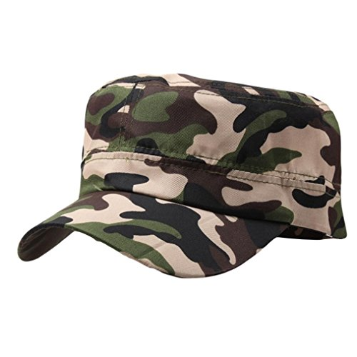 SUKEQ Unisex Twill Cadet Hat, Breathable Cotton Camouflage Army Military Style Cap Adjustable Flat Top Brim Visor Baseball Hat (Camouflage E)