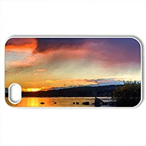 Autumn Evening - Case Cover for iPhone 4 and 4s (Lakes Series, Watercolor style, White)