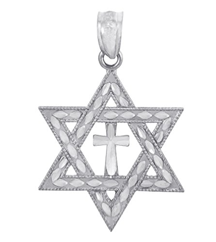 - 925 Sterling Silver Jewish Charm Cross Star of David Pendant