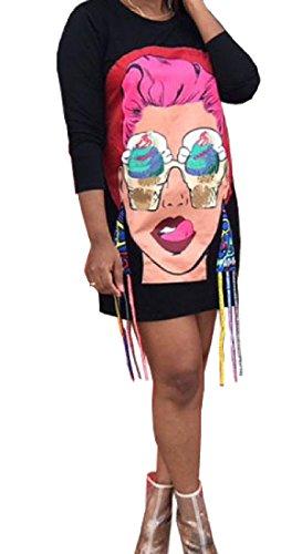 Length Print Dress Decorated Black Neck Comfy Women Scoop Mid Party nxFqa