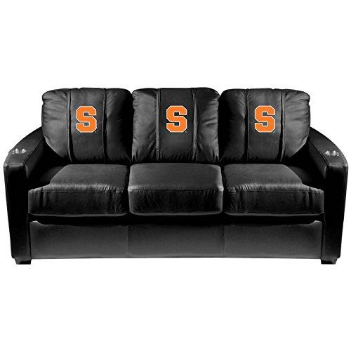 XZipit College Silver Sofa with Syracuse Orangeman Logo Panel, Black