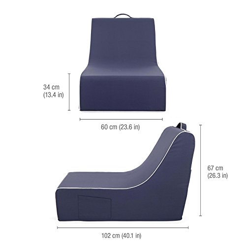 PopLounge Expandable Foam Furniture Coast Lounger, Crown Blue Navy, 23'' x 40'' x 26'' by PopLounge (Image #10)