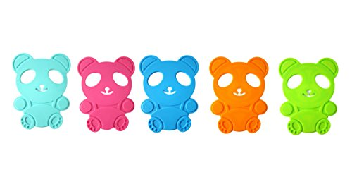 Nasis Thick Super Cute Cartoon Panda Form Hollowed Silicone Hot Pad/ Pot Holder Set of 5 Multicolored BYG0005