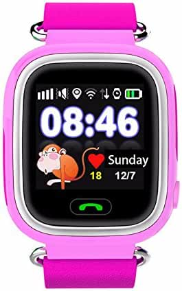 iikids Smart Watch Children GPS Q90 Touch Screen WIFI Positioning SOS Call Location Finder Device Tracker Kid Safe Anti Lost Monitor (Pink)