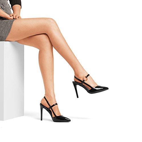 bout talons Baotou Femmes Chaussures Nouveau Noir à Stiletto Sandales à Chaussures Couleur 10cm 34 2018 pointu Noir hauts Rainbow taille q6Rxwxvz57
