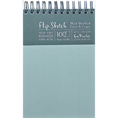 Global Art 6-Inch by 9-Inch Flip Sketch Wire Bound Blank Sketchbook, Mist, 100 Pages