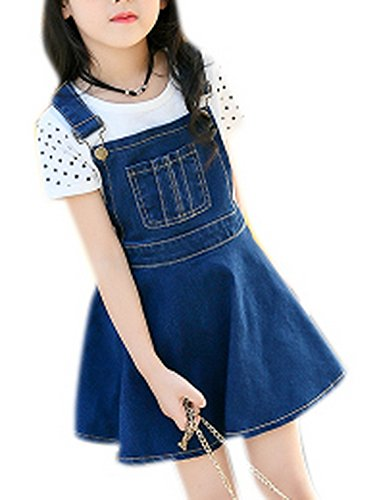 Luodemiss Girl's Summer Cute Front Bib Mini Denim Overall Dress One Piece Jeans Short Skirt 160 Blue ()