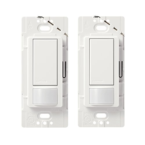 Lutron Maestro Motion Sensor Switch, No Neutral Required, 250 Watts, Single-Pole (2 Pack), MS-OPS2-2-WH, -