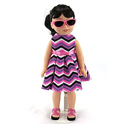 "American Fashion World Sleeveless Chevron Pattern Dress | Fits 14"" Wellie Wisher Dolls | 14'' Inch Doll Clothing: Toys & Games"