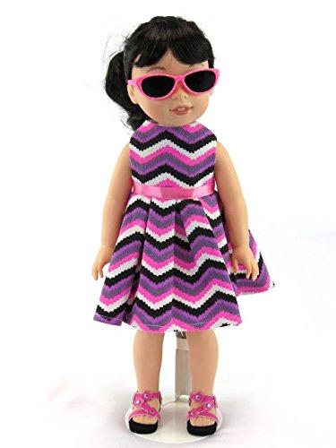 American Fashion World Sleeveless Chevron Pattern Dress | Fits 14