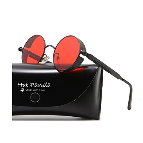 Round Steampunk Sunglasses Retro John Lennon Sunglasses For Men And Women (Black & Clear Red, (John Lennon Round Glasses)