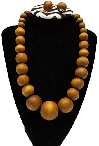 BUNFIREs Chunky Solid Wooden Beaded Necklace Earring Handmade Set Jumbo Beads (Light Brown)