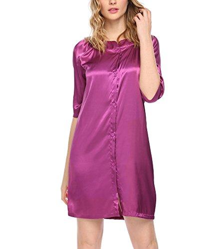 Luxilooks Women's Nightshirts Satin Slip Sleepwear Button Front Nightwear ()