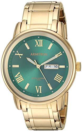 Armitron Men's 20/4935GNGP Day/Date Function Gold-Tone Bracelet Watch Day Mens Gold Tone Watch