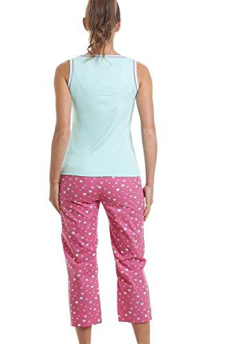 Pijama con pantalón pirata - Estampado de caniche Oh la la - Azul aguamarina Azul