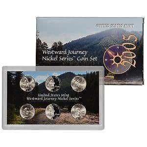 2005 P D S Westward Journey SATIN Bison  NICKEL SET CELLO PROOF 3 COINS