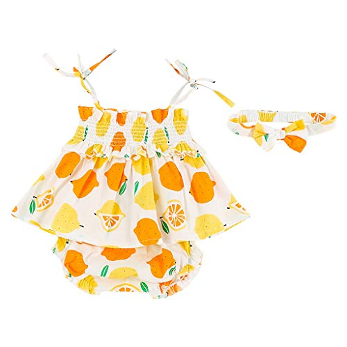 LiLiMeng Newborn Infant Baby Girls Bow Strap Lemon Print Ruched Dress Tops + Shorts+Hair Band Outfits Sets Summer Clothes