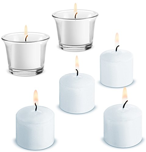 Votive Candles White 12 Pack Unscented 10 Hours Burn Time (White) (glass holders NOT included)