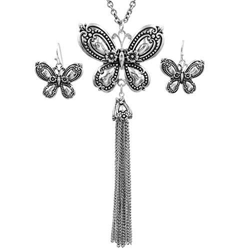 Gypsy Jewels Long Silver Tone Tassel Simple Necklace & Earring Set (Spoon Style Butterfly)