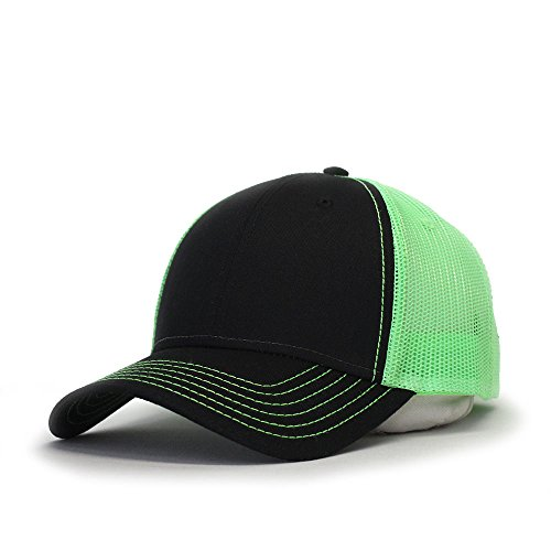 Vintage Year Plain Cotton Twill Mesh Adjustable Snapback Low Profile Trucker Baseball Cap (Black/Black/Neon (Trucker Green)