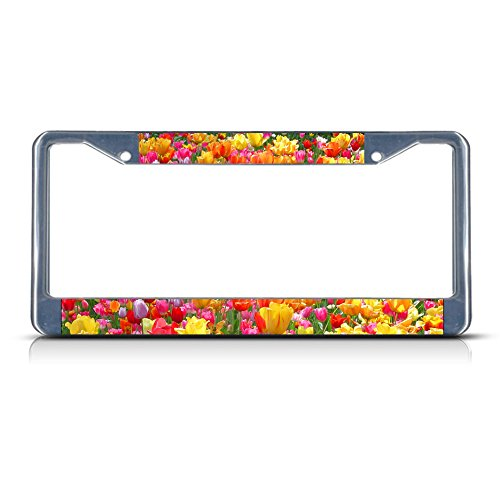 Fastasticdeals Tulip Flowers Metal License Plate Frame Tag Border Two Holes Chrome