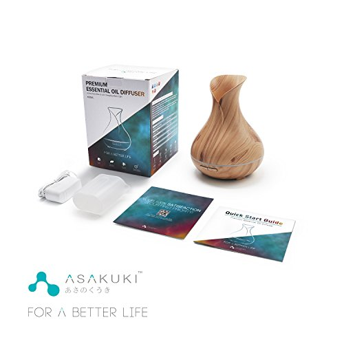 ASAKUKI 400ML Premium, Oil Diffuser, Quiet Humidifier, Natural Diffuser Color Changing Easy Clean