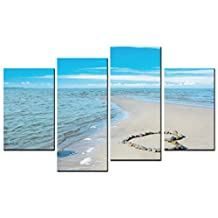 SmartWallArt - Sea Landscape Paintings Wall Art LOVE Heart Logo Layout on the Beach 4 Pieces Picture Print on Canvas for Modern Home Decoration
