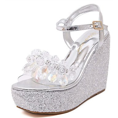 Eu39 Summer Silver Heel White Pink Blushing Synthetic Uk6 Us8 Wedge RTRY Cn39 Golden Silver Casual Women'S qx101OR