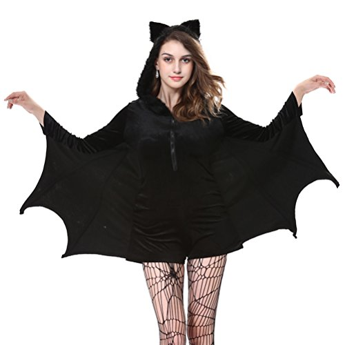 Halloween Sexy Bat Costumes for Women Sorceress Witch Party Cosplay Coat Jumpsuits with Stockings,2XL